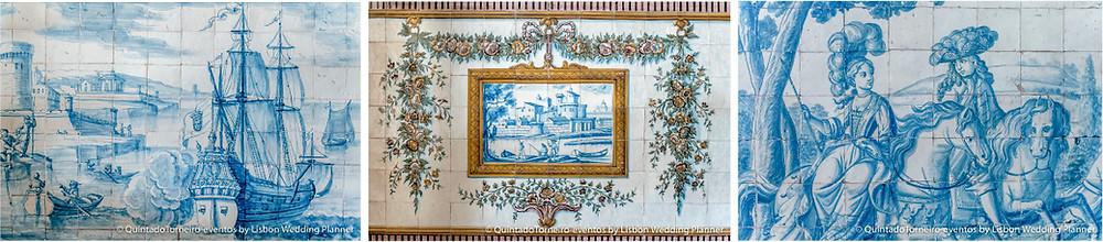 Azulejos originais azuis nas paredes da Quinta do Torneiro