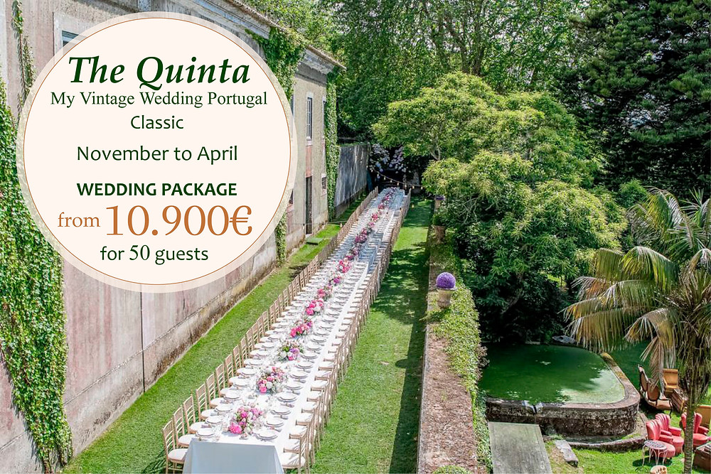 A package with al the services for a vintage long table outside at The Quinta my Vintage Portugal