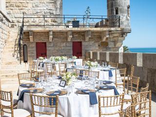 Reception Outdoors at Forte da Cruz - Beach Castle Wedding Venue Portugal