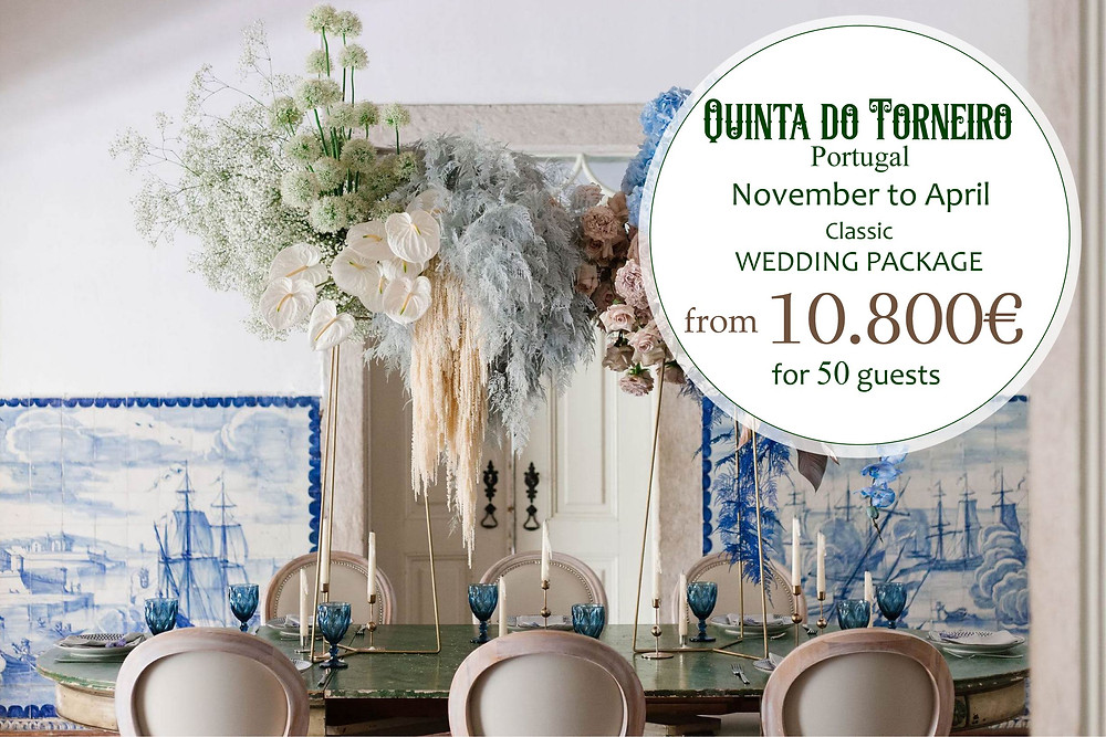 A package with the best wedding services and rooms full of blue portuguese tiles azulejos at  Quinta do Torneiro