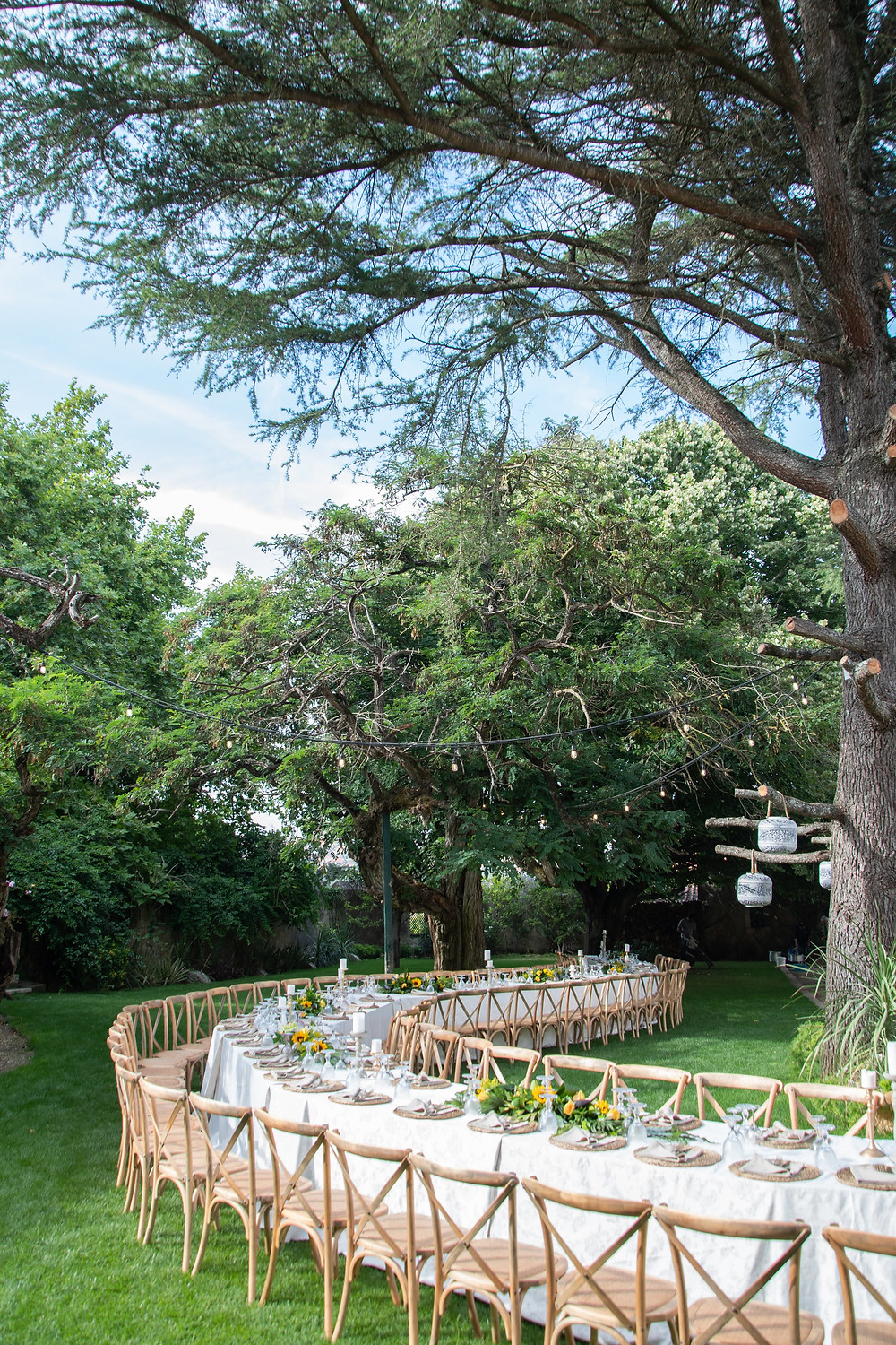 A long table with a curved and snake style for a summer outdoor wedding in Portugal at Quinta do Torneiro
