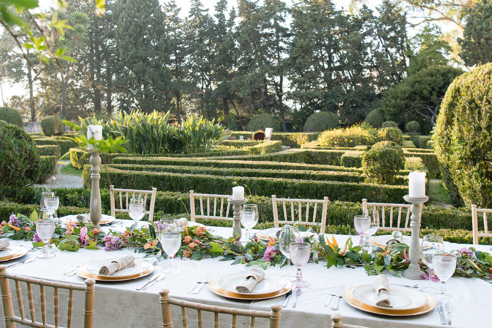 Franse tuin voor evenementen bij Quinta do Torneiro.