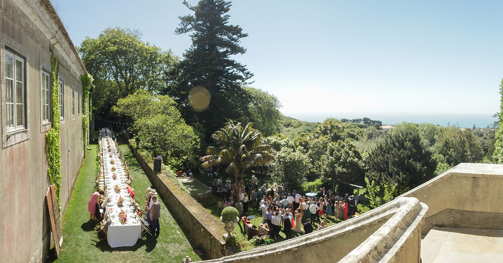 The wedding reception at the venue The Quinta my vintage wedding in Portugal after a beach ceremony