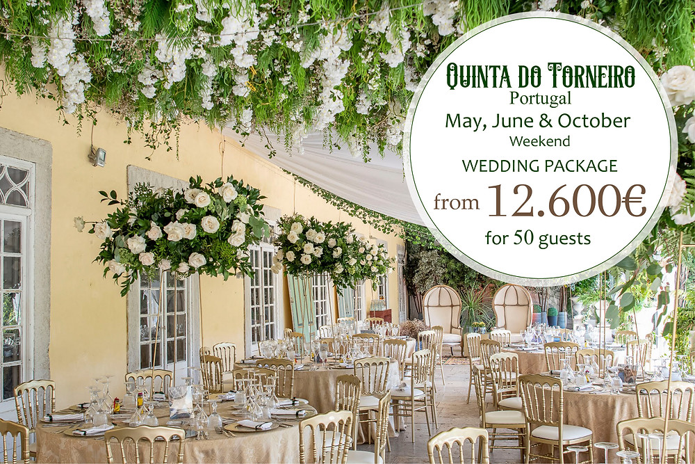 A elegant and luxurious wedding reception inside of the Greenhouse at Quinta do Torneiro wedding venue in Lisbon