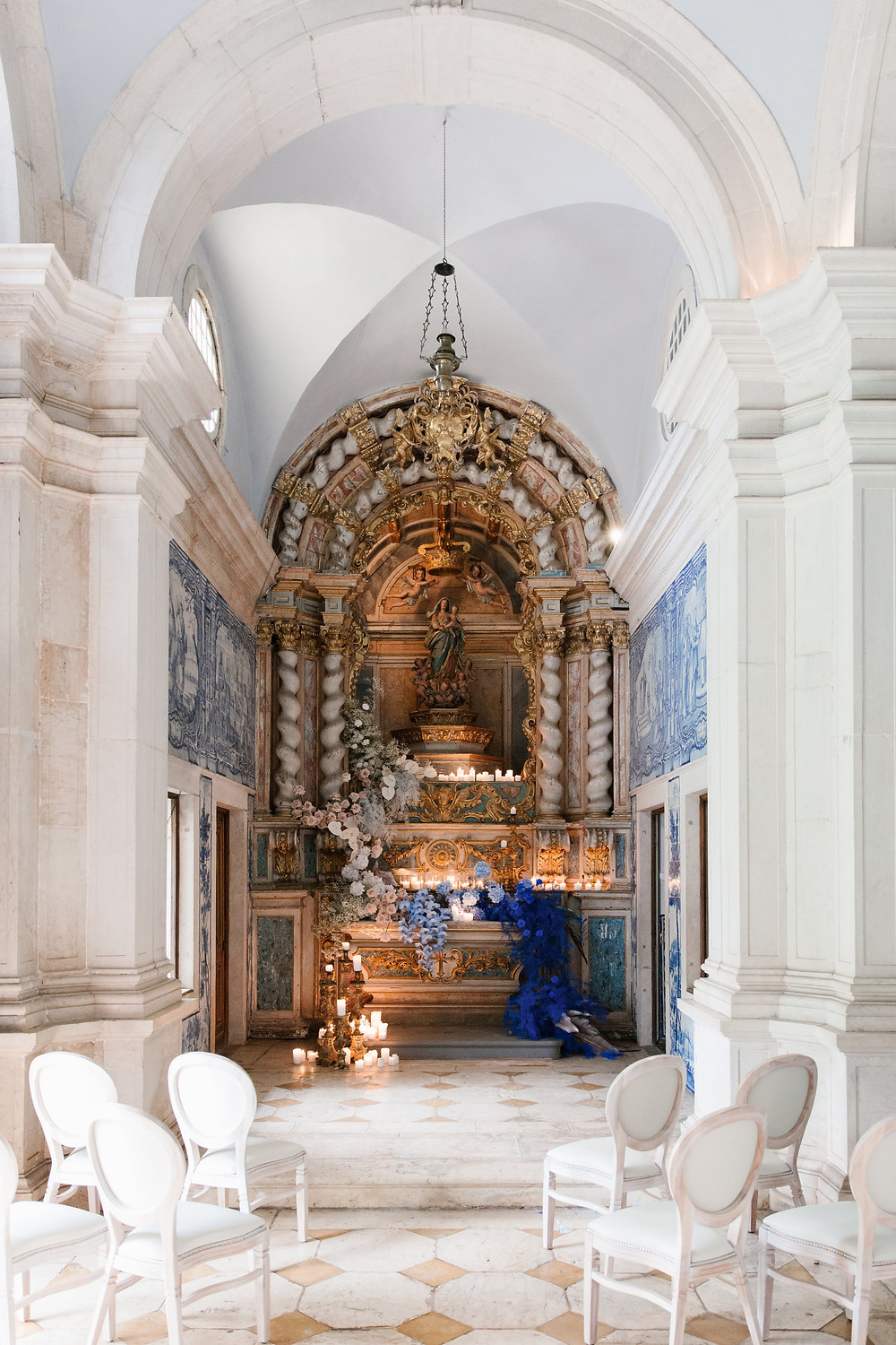 Portuguese intimate chapel with blue portuguese tiles at Quinta do Torneiro Lisbon Portugal