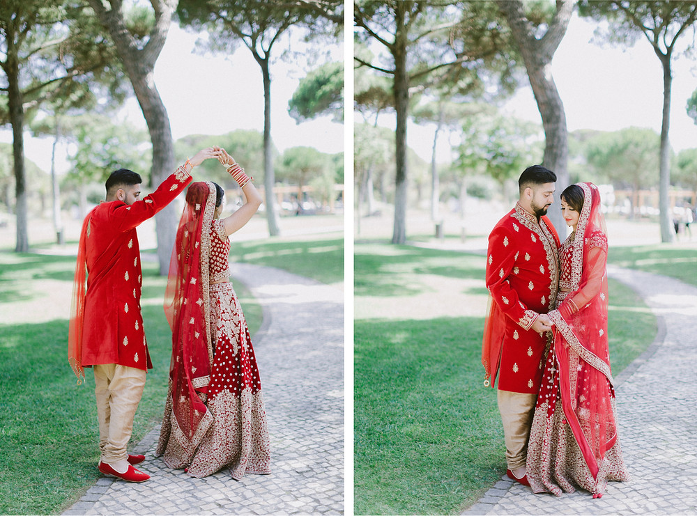The Sheraton Cascais was the location selected for Nital and Varun´s Couple Wedding Session by Portugal Wedding Photographer. The pine trees and the Greenery at the Sheraton contrasted perfectly with the Royal Red Outfits. Indian Weddings are usually colorful and Royal Red was the Couple´s choice.