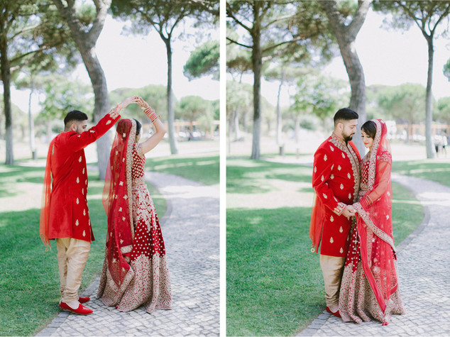 Red decor ceremony by Lisbon Wedding Planner