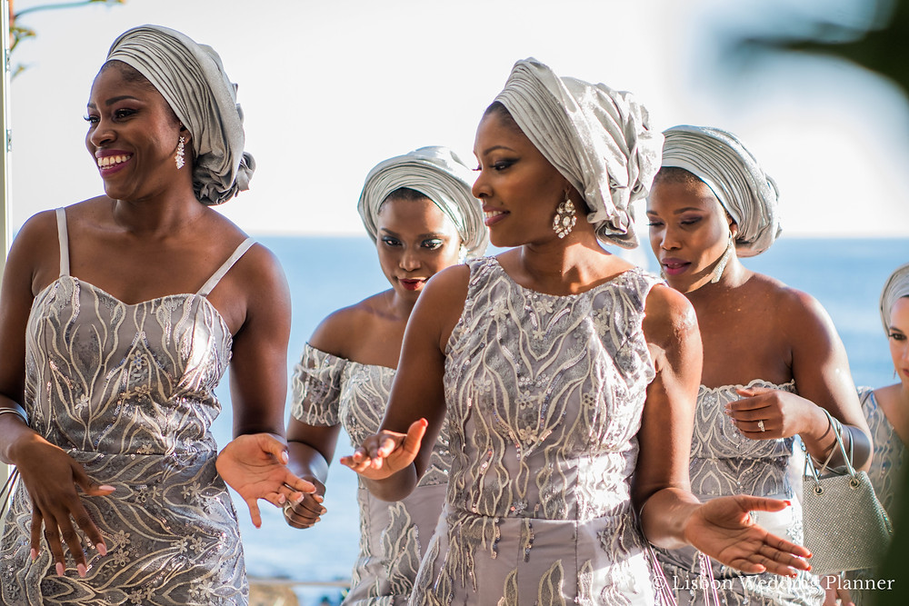 Nigerian destination wedding in portugal with bridal party dressed with traditional nigerian oufits