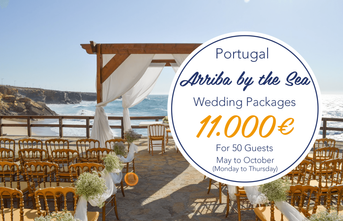 Weekdays Summer Beach Wedding Package Arriba by the Sea Portugal - From 11.000 euros for 50 guests, including wedding planner,