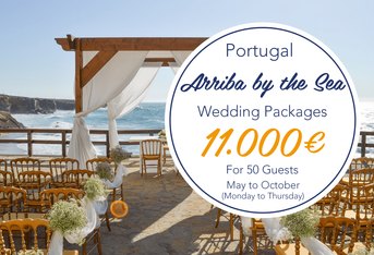 Weekdays Summer Beach Wedding Package Arriba by the Sea Portugal from 11.000 euros for 50 guests. All inclusive: catering, beverages, flowers, wedding planner, decorations, sound system, Dj and lights