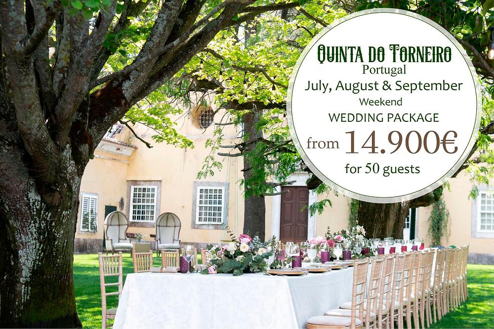 A summer wedding package for an outdoor garden wedding party decor with a long family table at Quinta do Torneiro