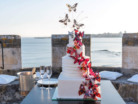 An intimate wedding ceremony in a Castle by the Sea Portugal