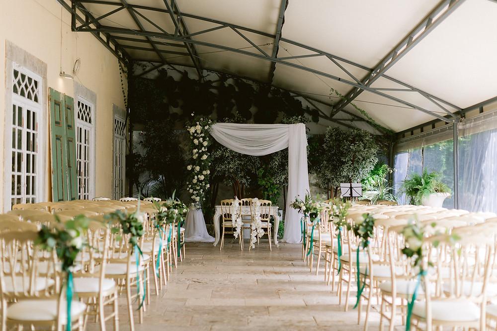 A wedding ceremony inside the terrace at Quinta do Torneiro wedding venue