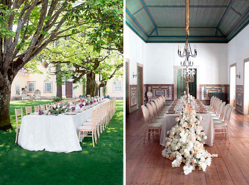 two different options of  wedding reception decoration for an outdoor and indoor wedding at Quinta do Torneiro Portugal