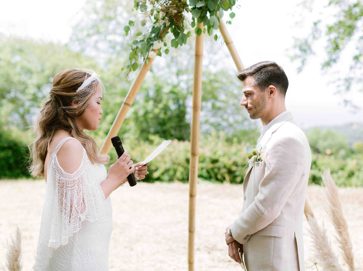 The Bride reading her Vows under the Tipi Boho Wedding Canopy at The Quinta My Vintage Wedding Portugal