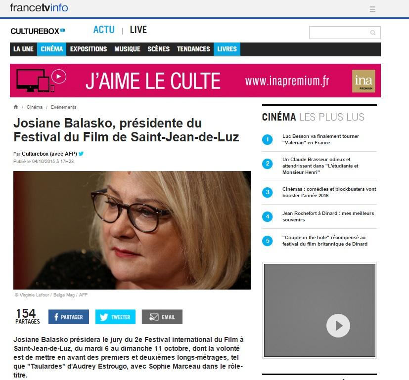 FranceTv Info Culture Box  4 Octobre