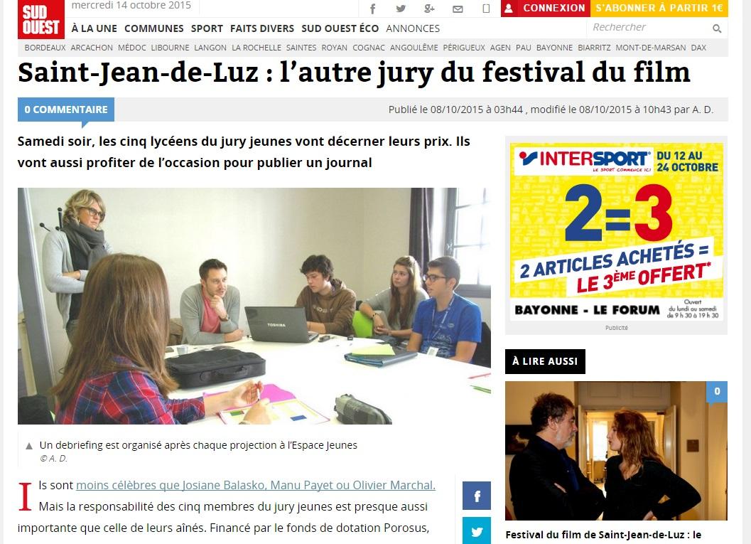 Sud-Ouest 8 Octobre Jury Jeune