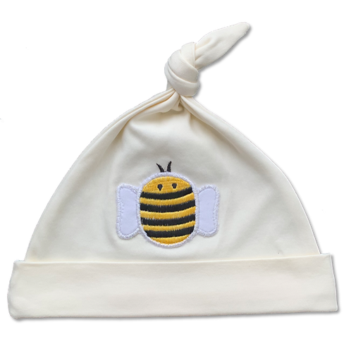 White Baby Hat with a bumblebee