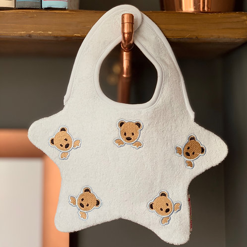 Blue Baby Bib with Embroidered Teddy Bears Front View