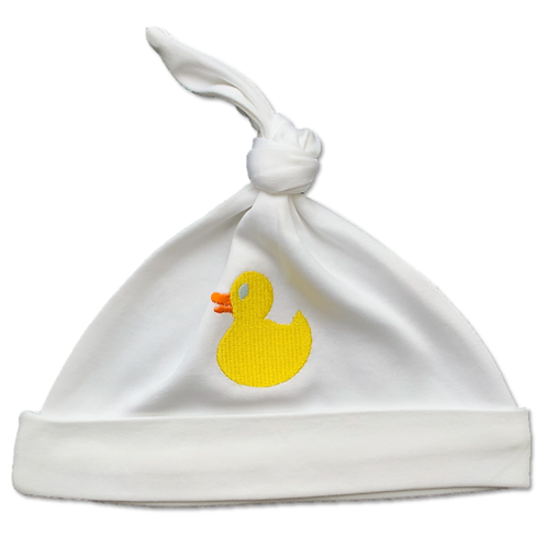 White baby hat with embroidered duck