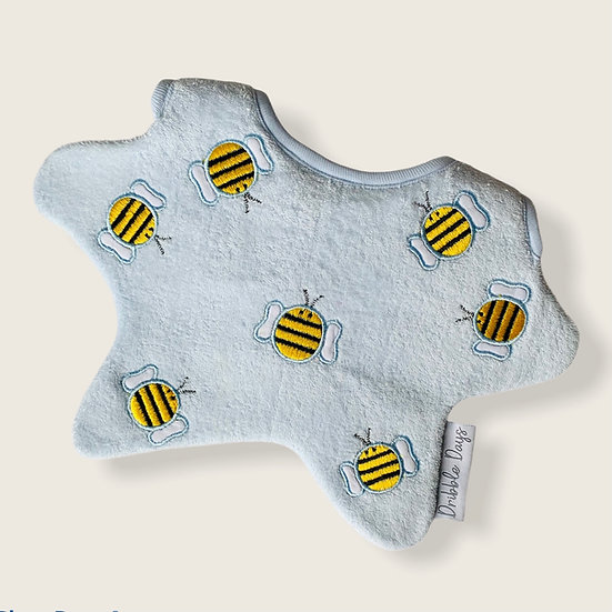 Blue baby bib with embroidered bumblebees Cut Out