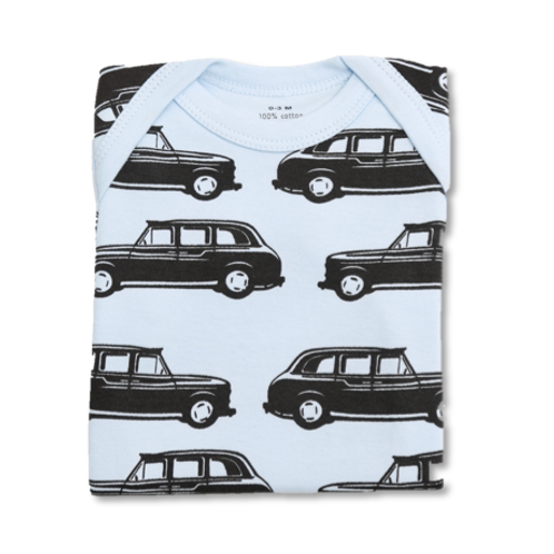 Blue Baby Tee with London Taxi Print Flat Lay