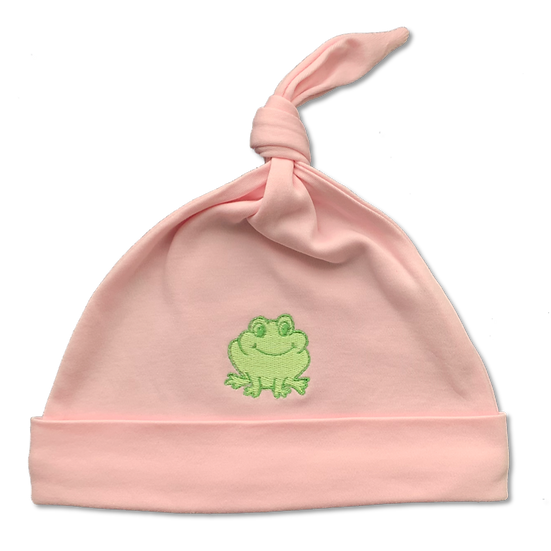 Baby hat in pink with a frog
