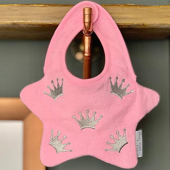 Pink Crown baby bib front view