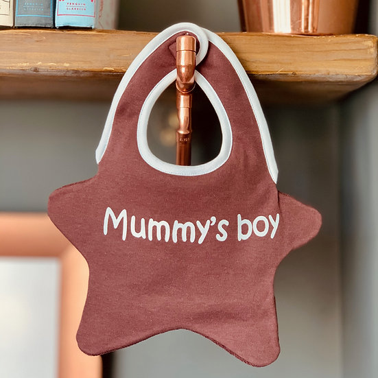 'Mummy's Boy' print baby bib front view