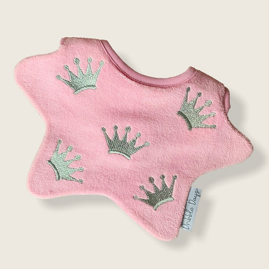 Pink Crown baby bib cut out