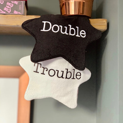 Twin baby bibs, 'Double Trouble'