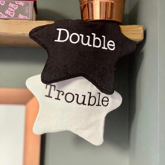 Twin baby bibs, 'Double Trouble'