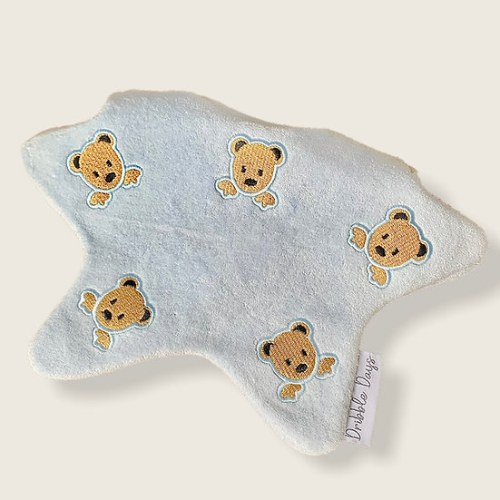 Blue Baby Bib with Embroidered Teddy Bears Cut Out