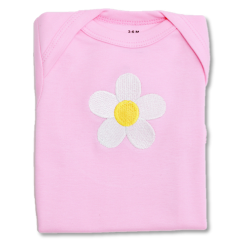 Pink Baby Tee with Daisy Embroidery Flat Lay