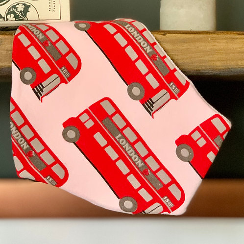 London Bus bandana baby bib front view