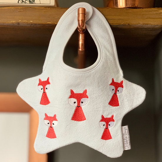 Embroided Fox Baby Bib Front View