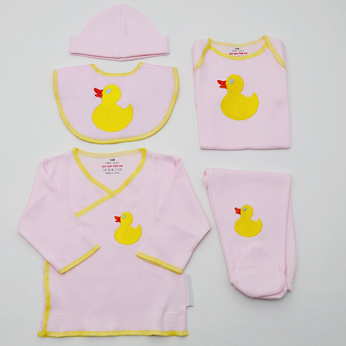 Newborn baby clothes set with embroidered ducks