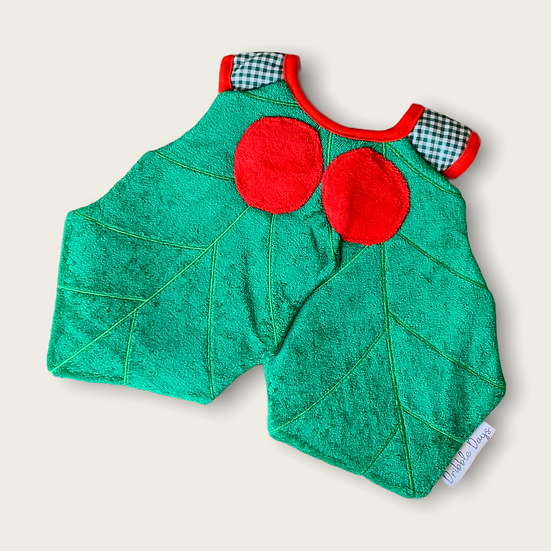 Baby bib in shape of Holly Leaf Dribble Days Cut Out