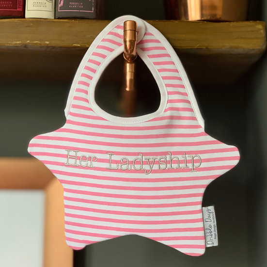 Her Ladyship embroidered baby bib front view