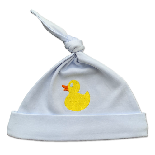 Blue Baby Hat with yellow embroidered duck