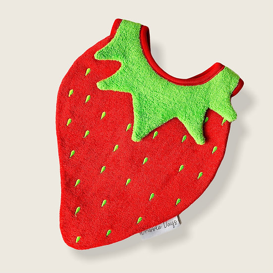 Red Strawberry shaped baby dribble bib Cut out