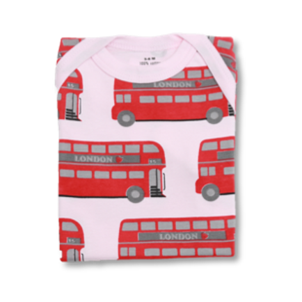 Pink Baby Tee with London Bus Print Flat Lay