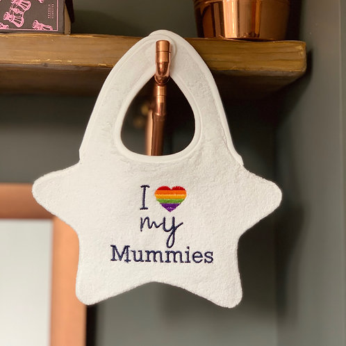 PRIDE Baby Bib Embroidered with I Love my Mummies Front View