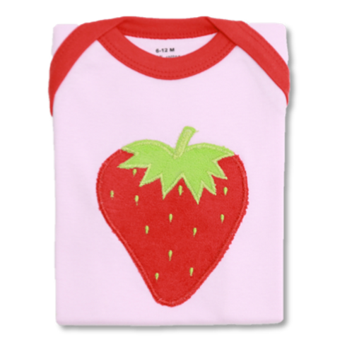 Pink Baby Tee with Red Strawberry Embroidery Flat Lay