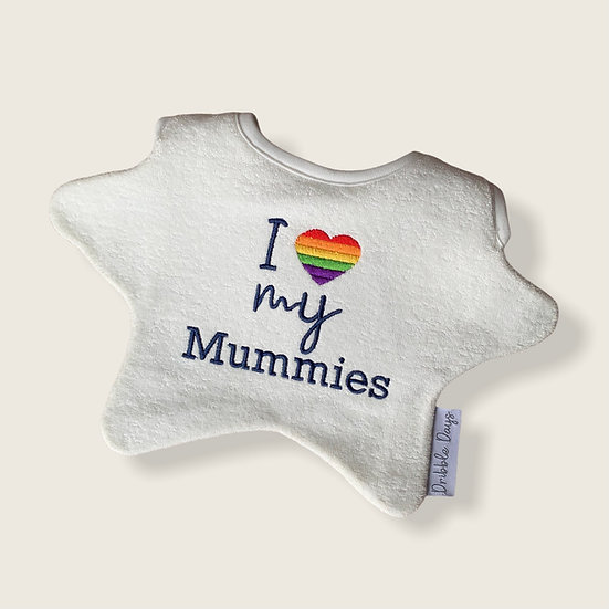 PRIDE Baby Bib Embroidered with I Love my Mummies Cut Out