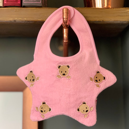 Pink baby bib with embroidered teddy bears