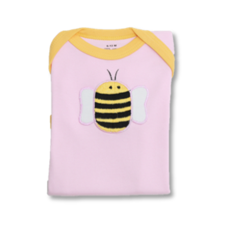 Pink Baby Tee with Bumblebee Embroidery Flat Lay