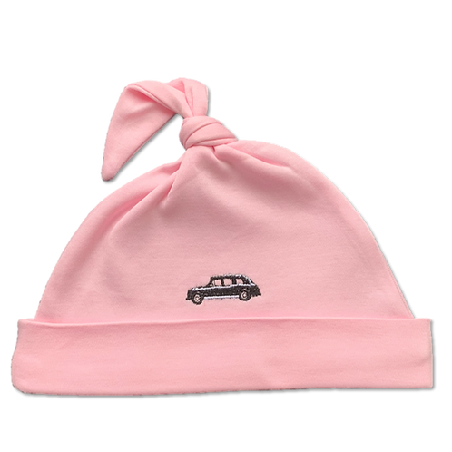 Pink Baby Hat front view, with embroidered London cab