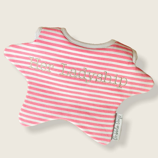 Her Ladyship embroidered baby bib Cut Out