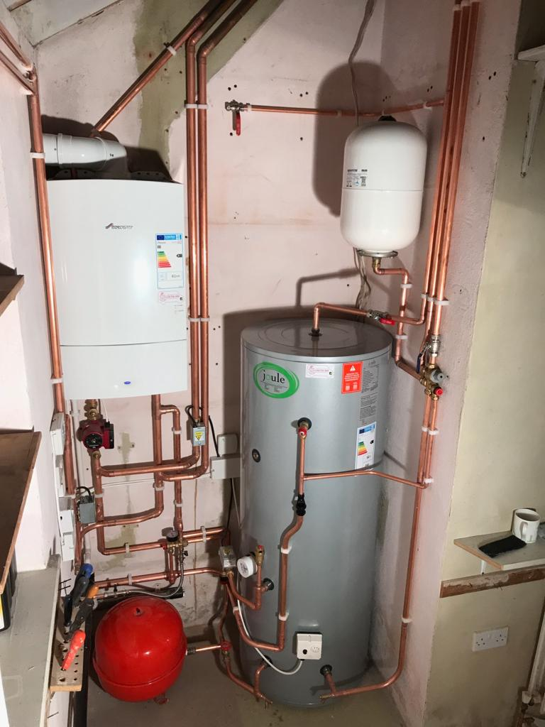 Boiler and hot water cylinder installation